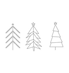 christmas trees set hand drawn black and white vector image