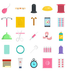 Contraception day control icons set flat style vector