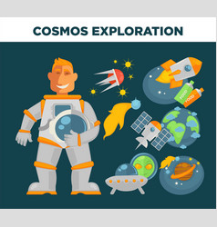 cosmos exploration and astronaut symbols vector image