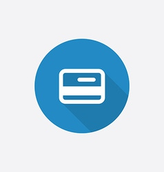 credit card Flat Blue Simple Icon with long shadow vector image