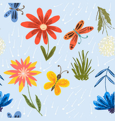 Cute pattern with red flowers and butterflies vector