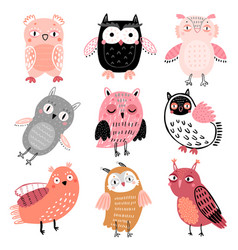 cute woodland owls funny childish characters with vector image
