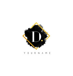 d letter logo design with black stroke and golden vector image
