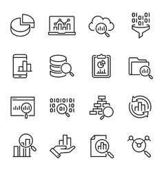 data analysis information search icons set vector image