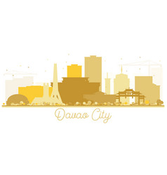 davao city skyline golden silhouette vector image