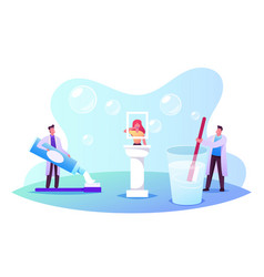 dentists doctor characters holding huge brush and vector image