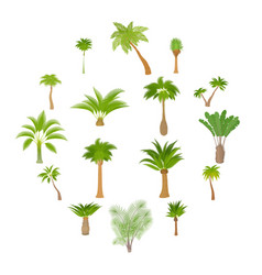 different palm trees icons set cartoon style vector image