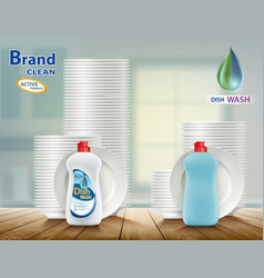 Dishwashing liquid soap with plates vector