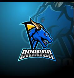 dragon head esports mascot logo design vector image