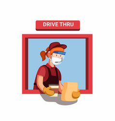 drive threw fast food worker girl wear face shield vector image