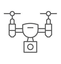 Drone thin line icon device quadcopter vector