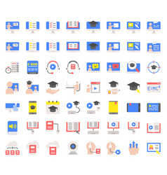 E learning and educated online icon set flat vector