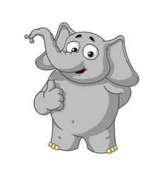 Elephant character he raised a finger like vector