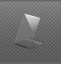 Empty folded acrylic glass plate mockup vector