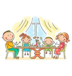 Family having meal together vector