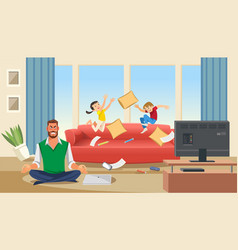 Father in a state of stress with playing children vector