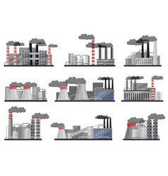 flat set of manufacturing factories with vector image
