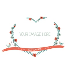 Floral greeting frame heart shape isolated vector