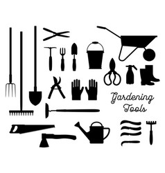gardening tools black silhouettes set vector image