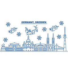 germany dresden winter city skyline merry vector image