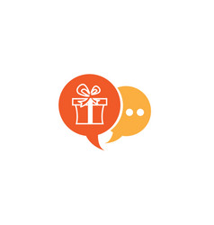 Gift box and surprise for logo design in chat icon vector