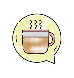 Grated hot coffee cup inside chat bubble vector