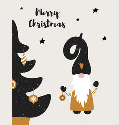 greeting card with cute scandinavian gnome vector image