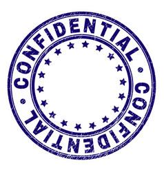 Grunge textured confidential round stamp seal vector