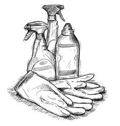 Hand drawing of set of house cleaning products vector