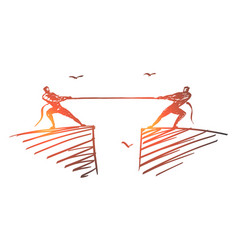 Hand drawn people dragging rope to different sides vector