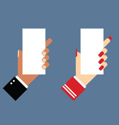 Hand holds white paper vector