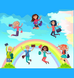 happy students on summer holidays concept vector image