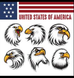 Hawk eagle head usa logo mascot icon illu vector