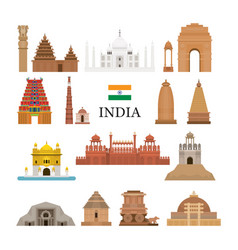 India architecture objects icons set vector