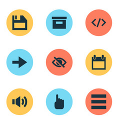 interface icons set with hide diskette code and vector image