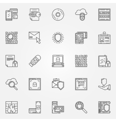 Internet security line icons vector