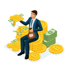 Isometric businessman sitting on a hill of gold co vector