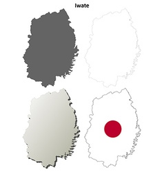 Iwate blank outline map set vector
