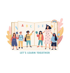 Lets learn together concept with kids and teacher vector
