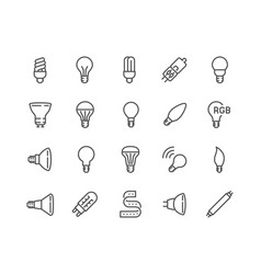 Line light bulb icons vector