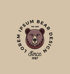 Line style bear face with retro typography vector