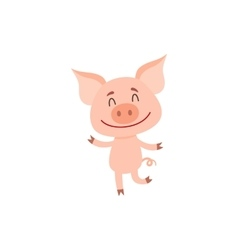 Little pig dancing on two rear legs with eyes vector image