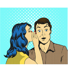 Man and woman whisper pop art vector