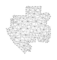 map of gabon from polygonal black lines and dots vector image