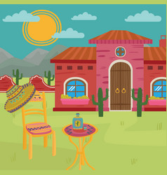 Mexican villa traditional mexican house and yard vector