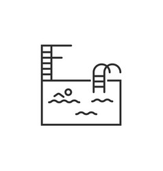 Minimal single icon of swimming pool with ladder vector