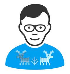 nerd guy flat icon vector image