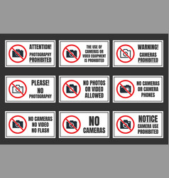 no camera use sign photo prohibited signboard vector image