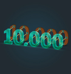 Number made glass and wood vector