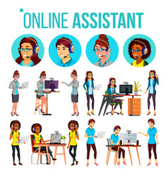 Online assistant woman set online global vector